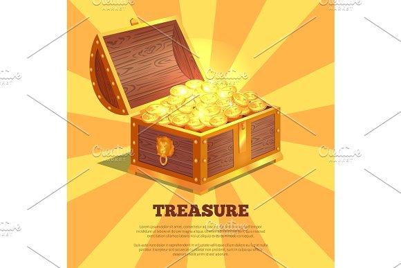 Treasure Bright Wooden Box Vector Illustration