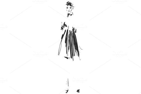 Fashion models sketch. Cartoon girl