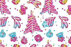 Seamless cute cartoon stars pattern
