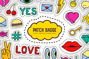 Set, pattern of fashion patches