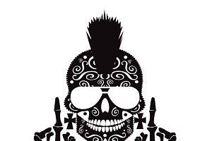 Punk skull with middle finger