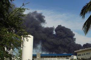 huge fire blaze from burning oil factory in Bangkok Thailand