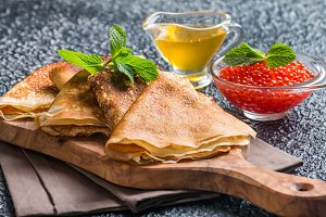 Yeast pancakes, traditional for Russian pancake