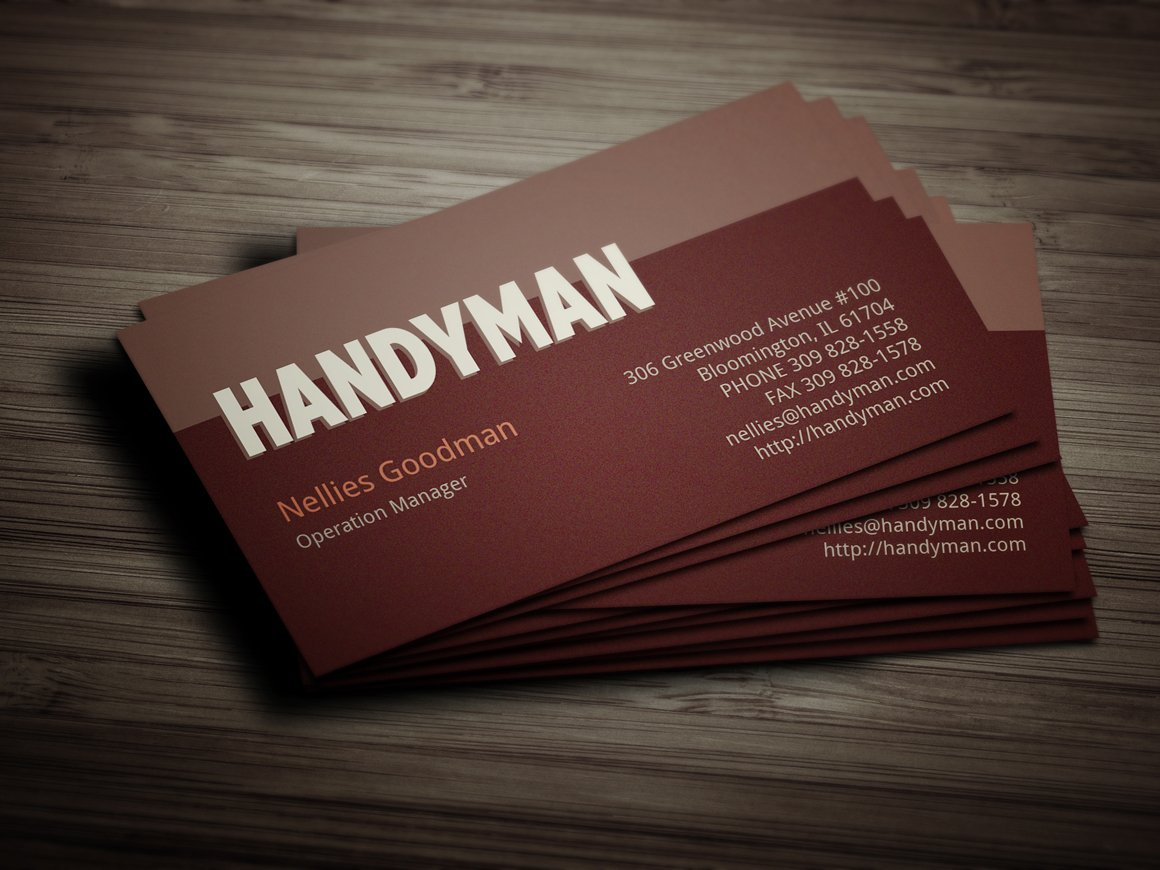 Handyman business card Photos, Graphics, Fonts, Themes, Templates ...
