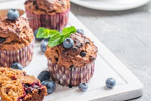 Carrot muffins with blueberrie