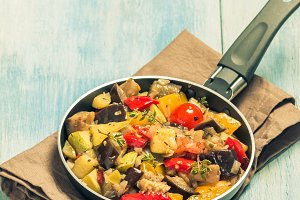 Vegetable ratatouille in a frying pan