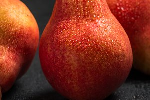 Wet red pears