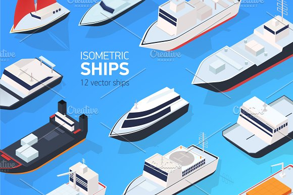 Set of 12 different ship