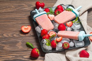 Homemade strawberry ice cream or popsicles
