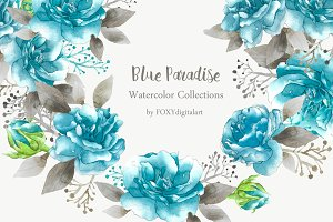 Rose Clip Art Blue Floral Watercolor