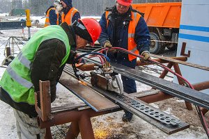 Safety at work. Welding and grinding of iron constructions. Industrial weekdays welders and fitters