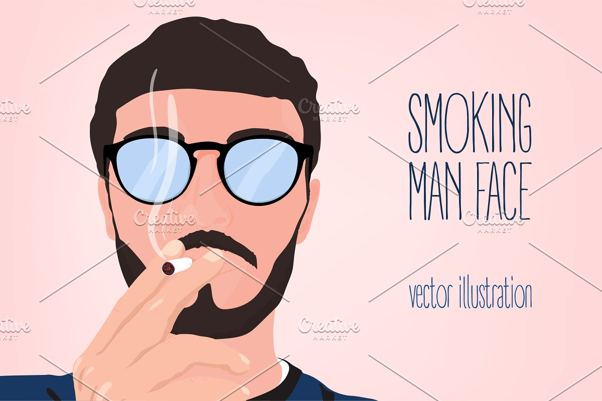 Man smokes a cigarette