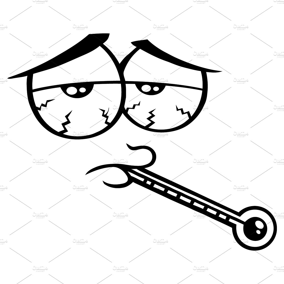 Black And White Sick Funny Face ~ Illustrations ~ Creative ...