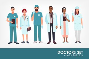 Set of doctors, medical workers