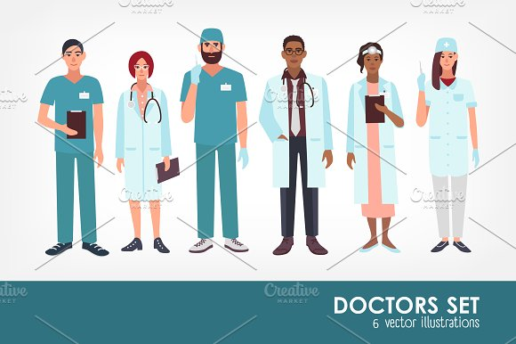 Set of doctors, medical workers in Illustrations