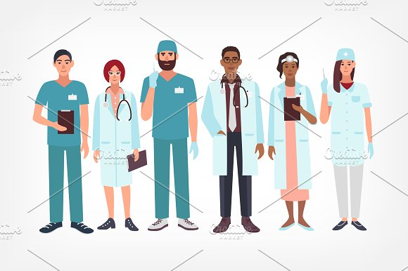 Set of doctors, medical workers in Illustrations - product preview 1