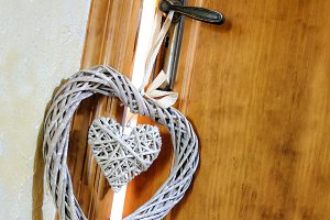 Hearts hanging doorknob