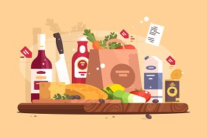 Food and ingredients for cooking