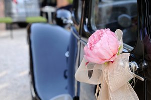 Wedding car with flower rear view