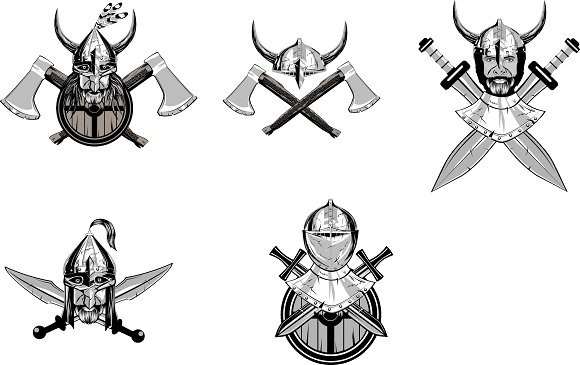 Warriors head in helmets in Illustrations - product preview 4