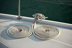 Yacht mooring ropes