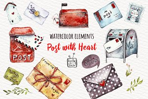 Watercolor post with heart