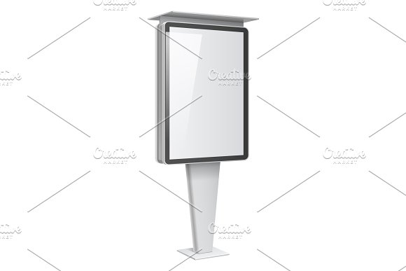 Realistic vector light box with roof in Mockup Templates