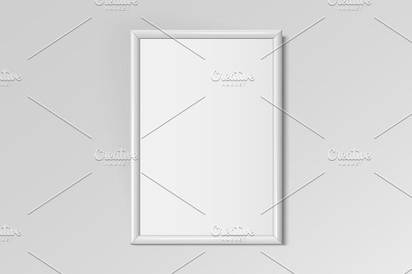 Realistic white vertical frame