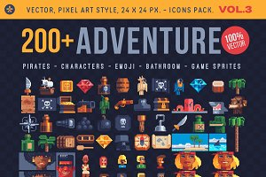 Adventure. 200+ pixel icons.