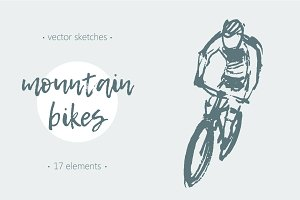 Set of sketches of mountain bikes