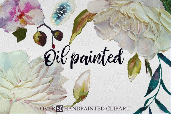 Oil painted floral set