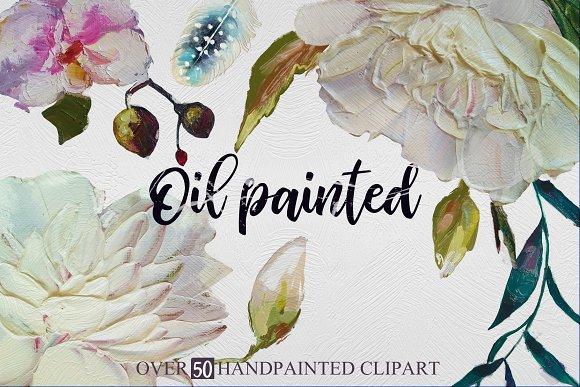 Oil painted floral set