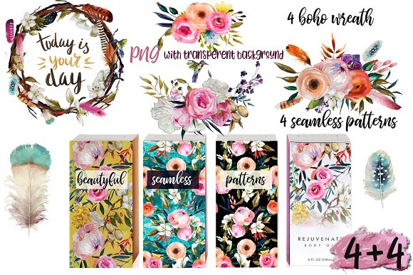 Oil painted floral set in Illustrations - product preview 3