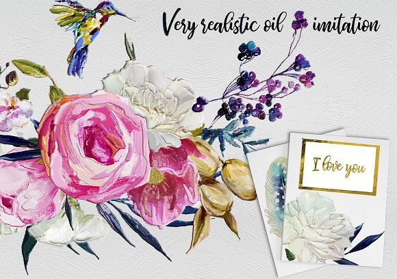 Oil painted floral set in Illustrations - product preview 4