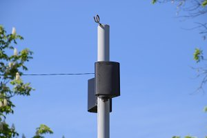 The loudspeaker on the pole. Outdoor speakers for fun walking in the park