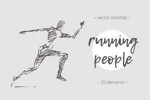 Set of sketches of running people