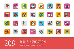 208 Map and Navigation Icons