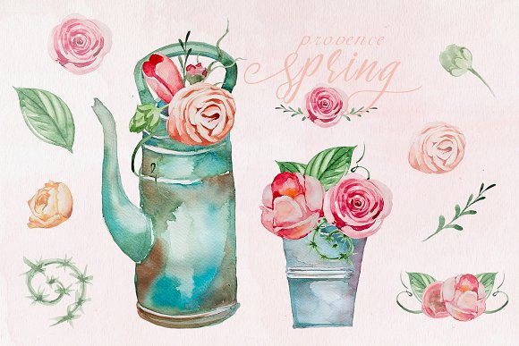 Watercolor Provence Spring Clipart