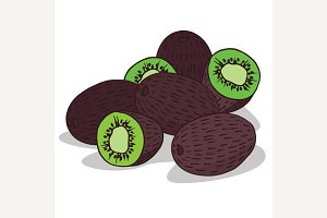 Isolate ripe kiwi fruit