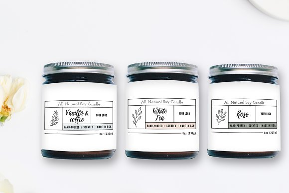 candle label templates stationery templates creative market
