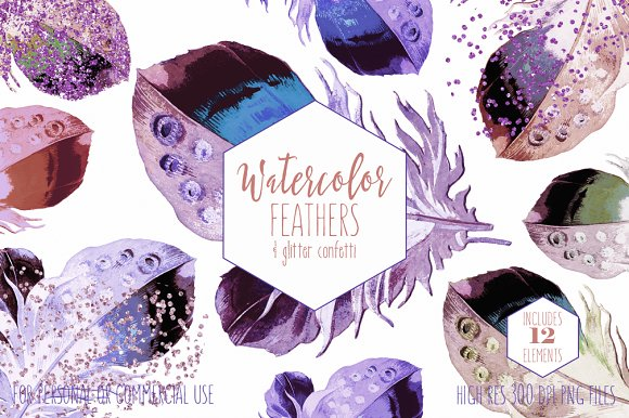 Watercolor Purple Feather Clipart in Illustrations