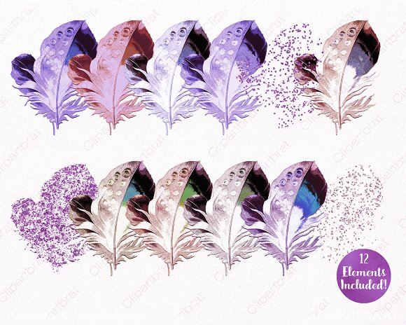Watercolor Purple Feather Clipart in Illustrations - product preview 1