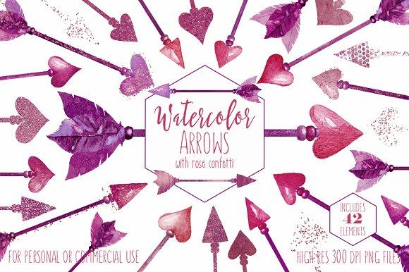 Pink Watercolor Bohemian Arrows