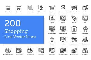 200 Shopping Line Icons