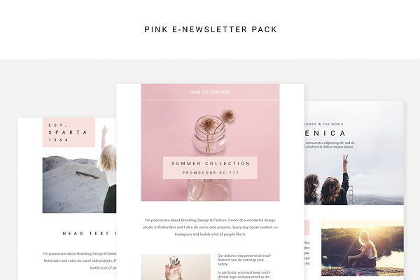 Email Templates: Swiss_cube - Pink E-newsletter Pack