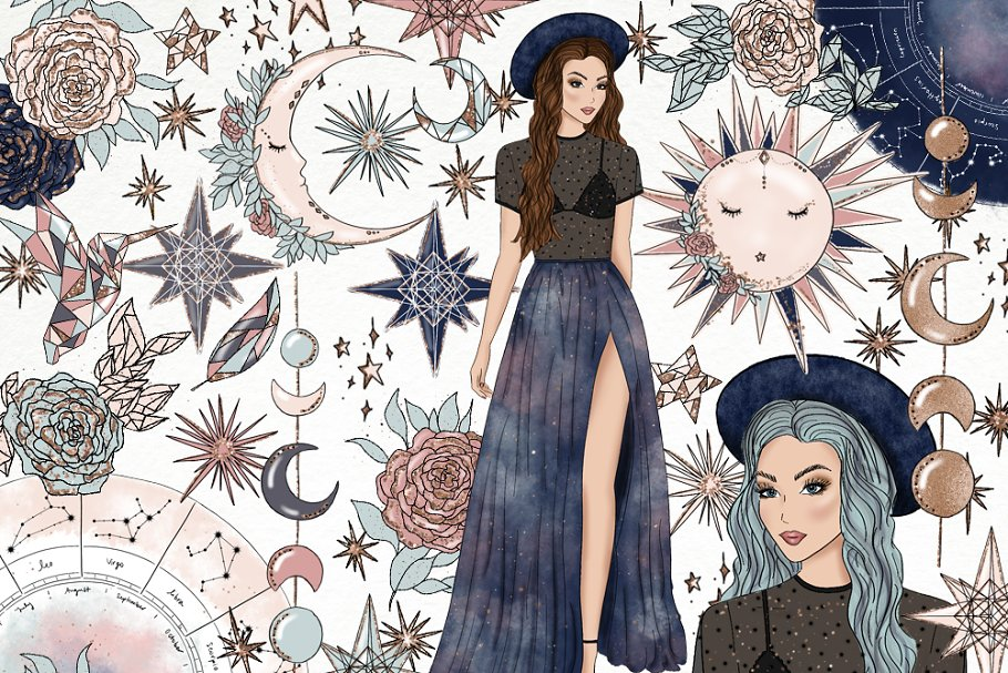 Moon & Stars Fashion Clip Art