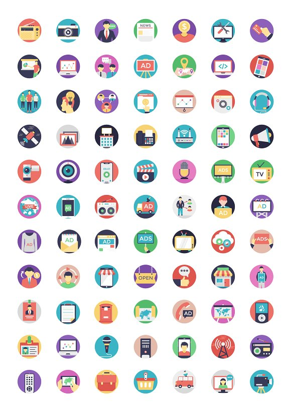 Media and Advertisement Flat Icons in Graphics - product preview 1