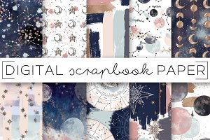 Navy Moon & Stars Digital Papers