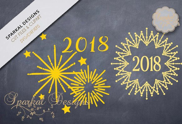 New Years Cutting Files Set of Two