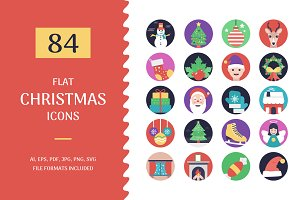 84 Christmas Flat Design Icons